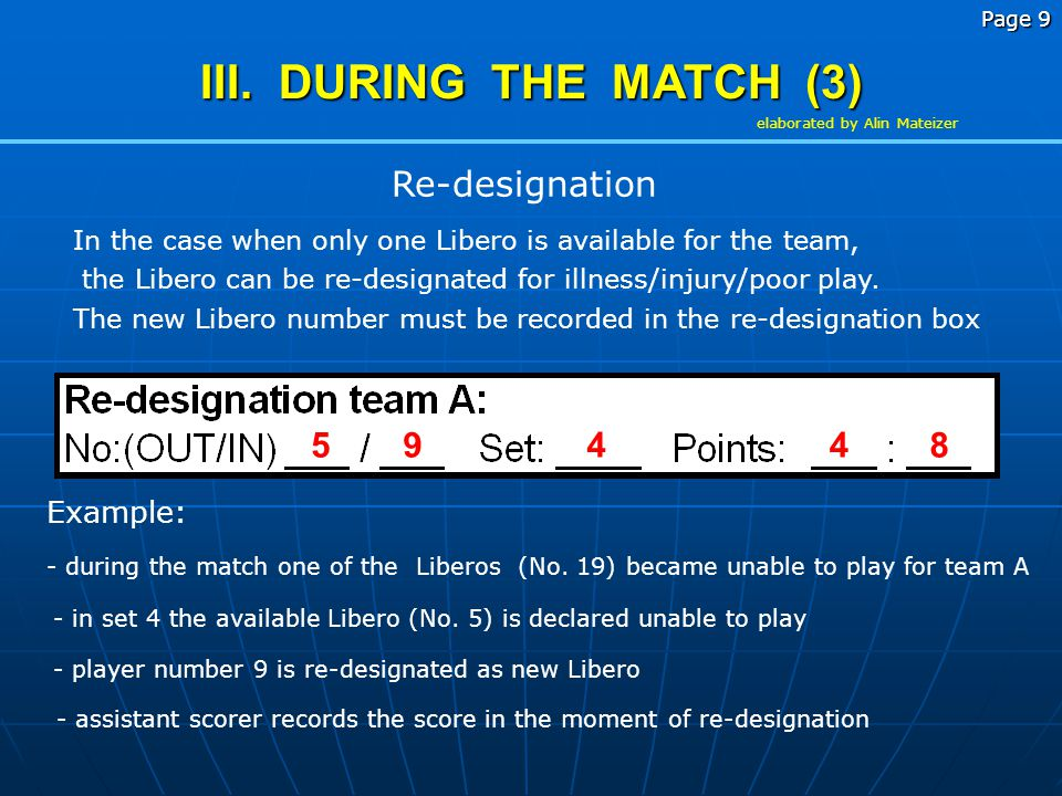 III. DURING THE MATCH (3) Re-designation Example: