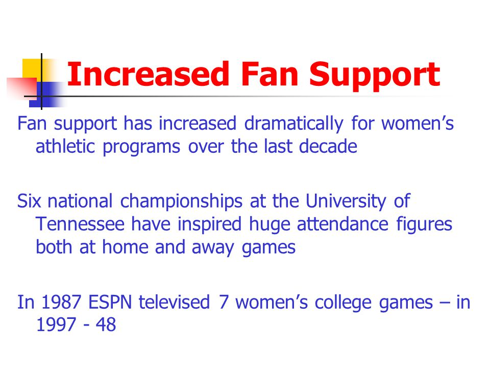 Increased Fan Support Fan support has increased dramatically for women's athletic programs over the last decade.