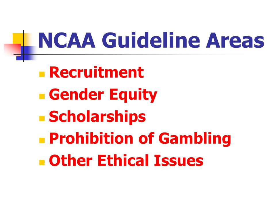 NCAA Guideline Areas Recruitment Gender Equity Scholarships