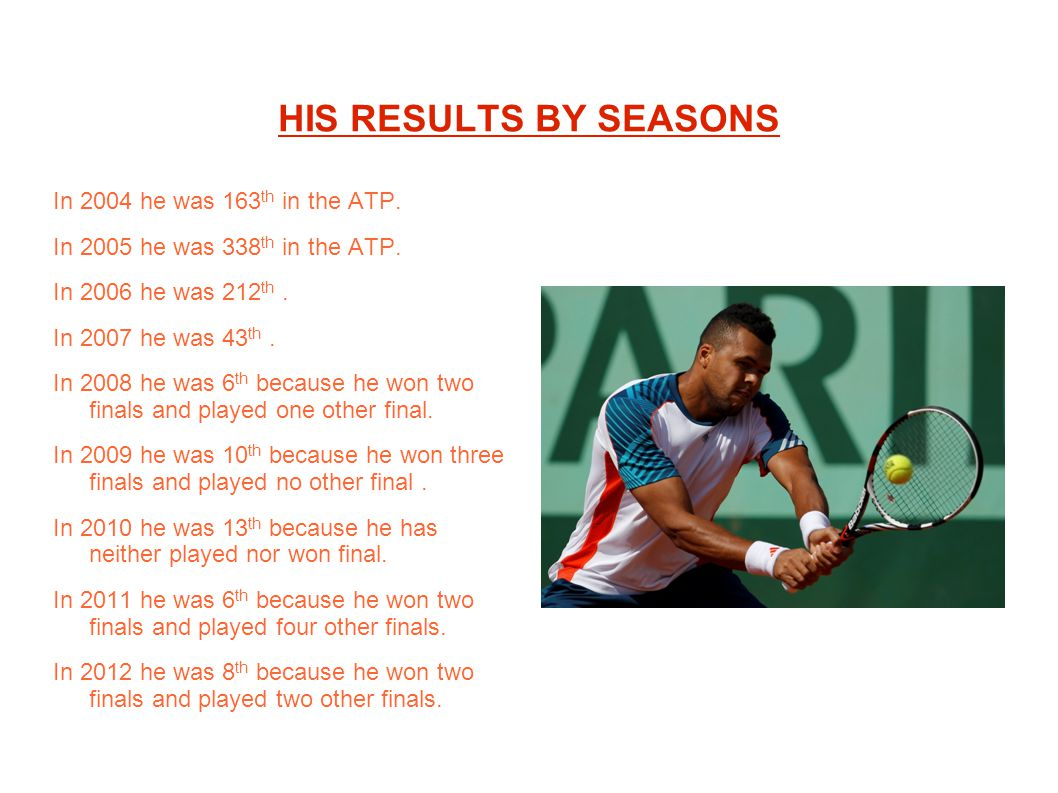 HIS RESULTS BY SEASONS In 2004 he was 163th in the ATP.