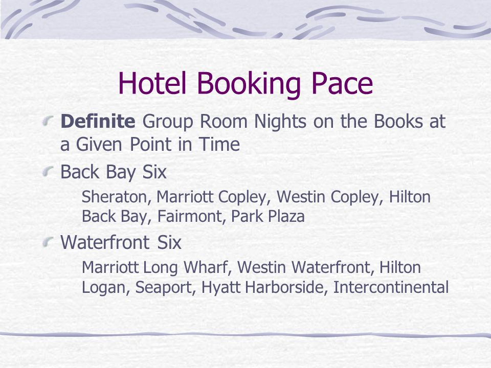 Hotel Booking Pace Definite Group Room Nights on the Books at a Given Point in Time. Back Bay Six.