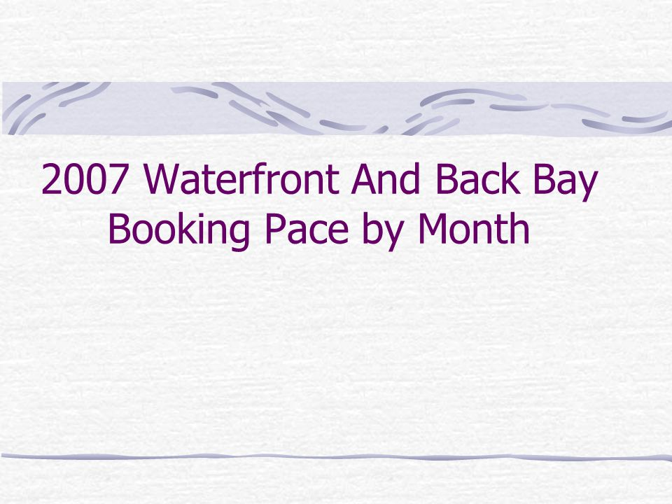 2007 Waterfront And Back Bay Booking Pace by Month