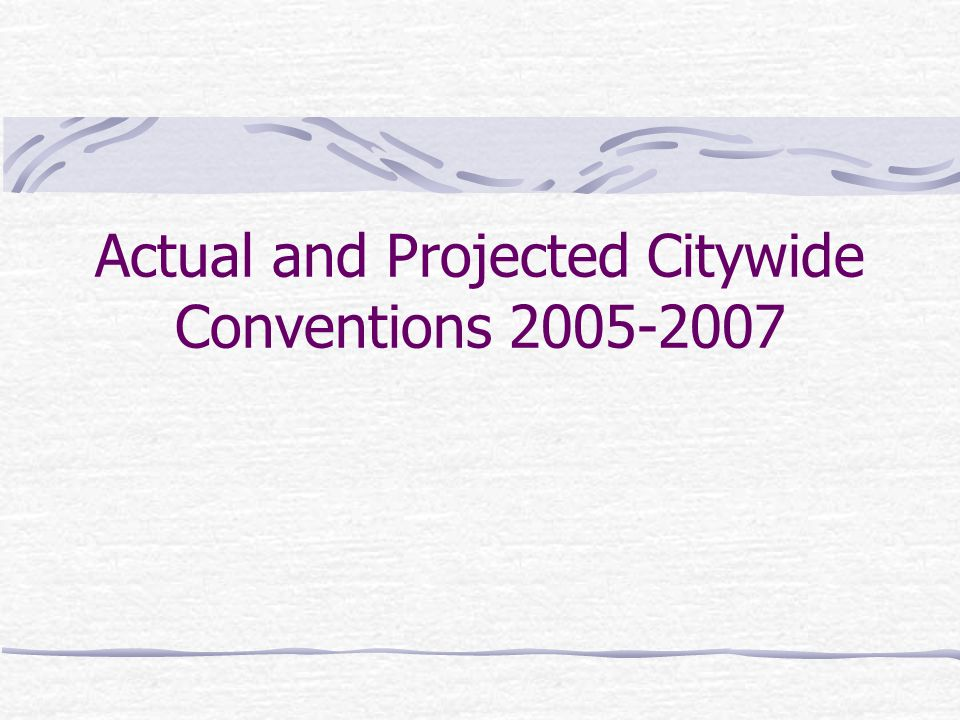 Actual and Projected Citywide Conventions 2005-2007