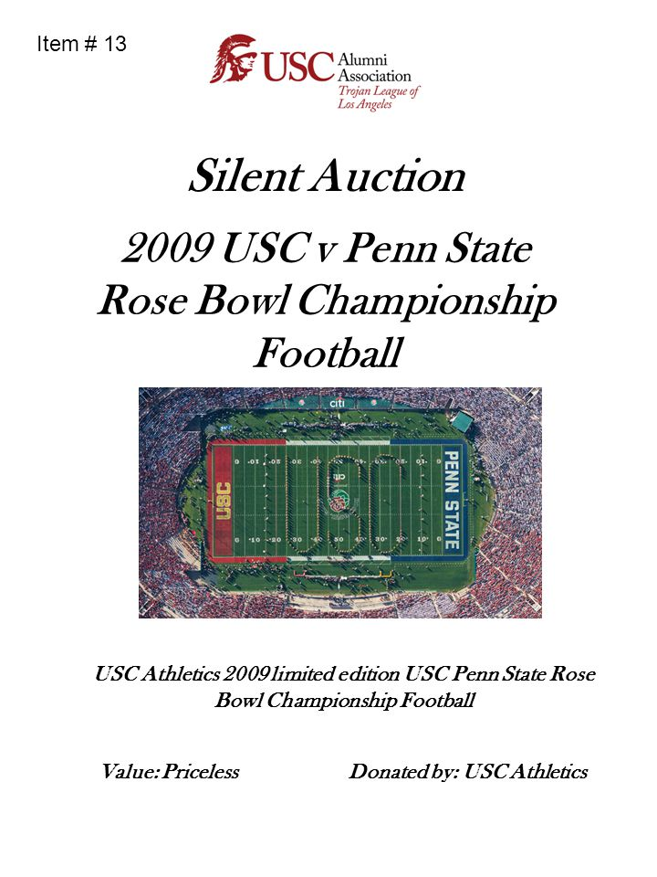 Silent Auction 2009 USC v Penn State Rose Bowl Championship Football