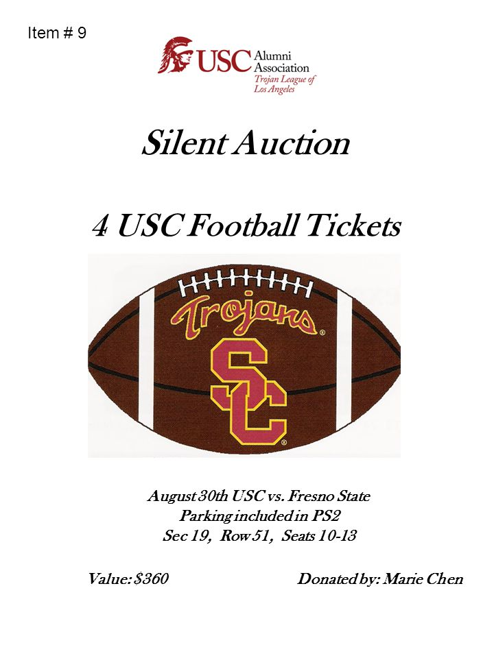 Silent Auction 4 USC Football Tickets Item # 9