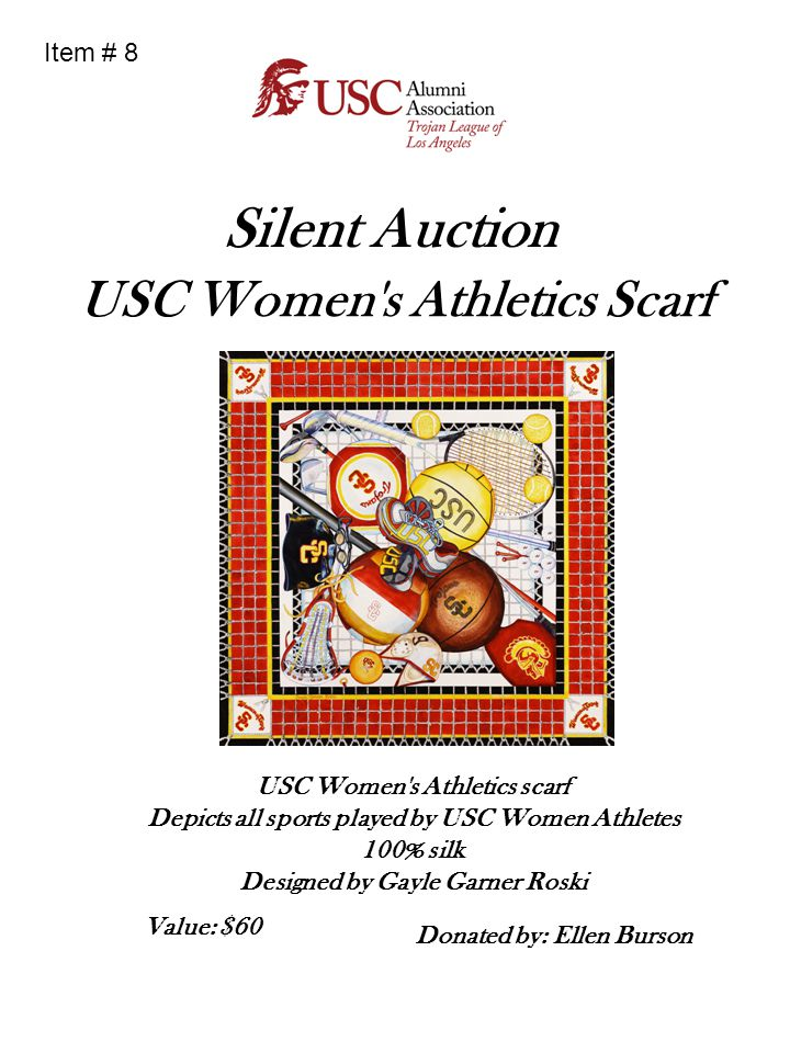 USC Women s Athletics Scarf Donated by: Ellen Burson