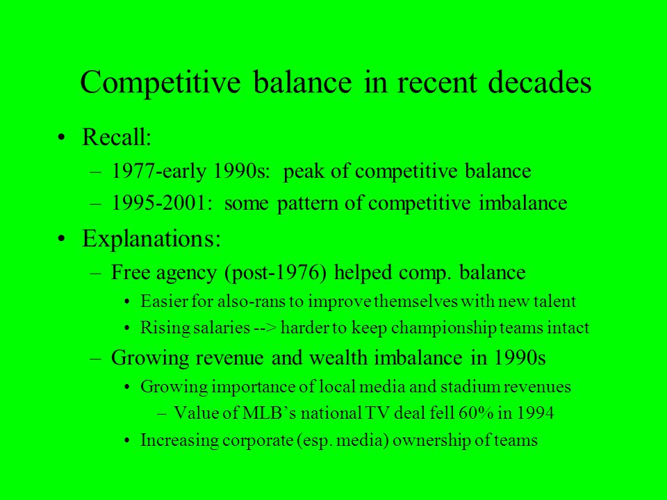 Competitive balance in recent decades