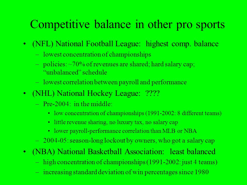 Competitive balance in other pro sports