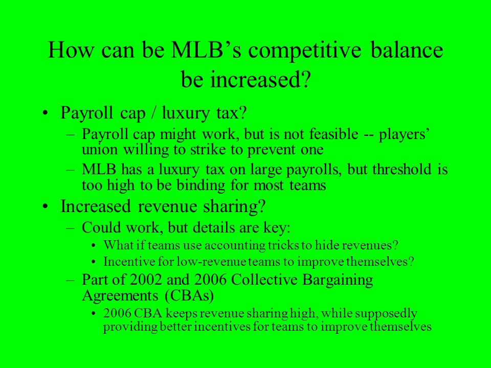 How can be MLB's competitive balance be increased