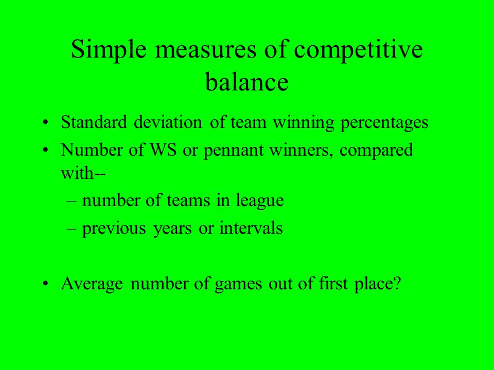 Simple measures of competitive balance