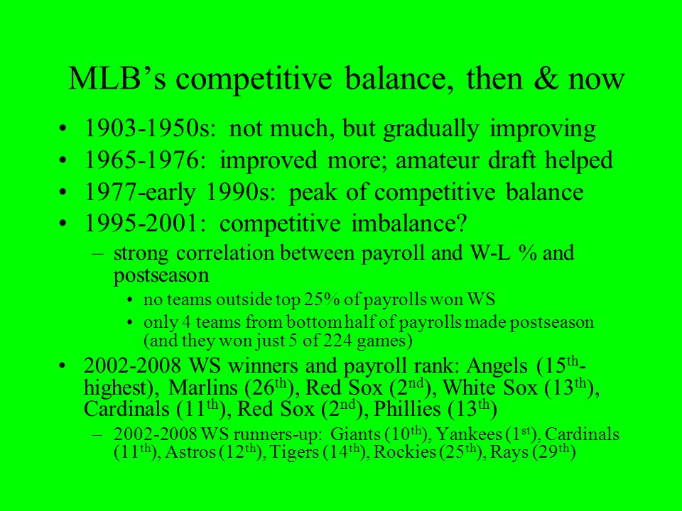 MLB's competitive balance, then & now