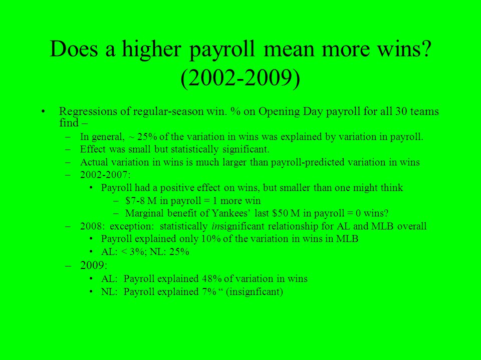 Does a higher payroll mean more wins (2002-2009)