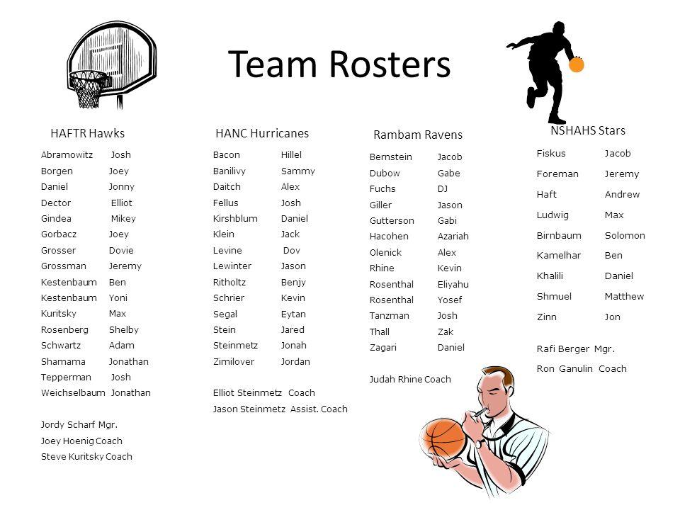 Team Rosters NSHAHS Stars HAFTR Hawks HANC Hurricanes Rambam Ravens