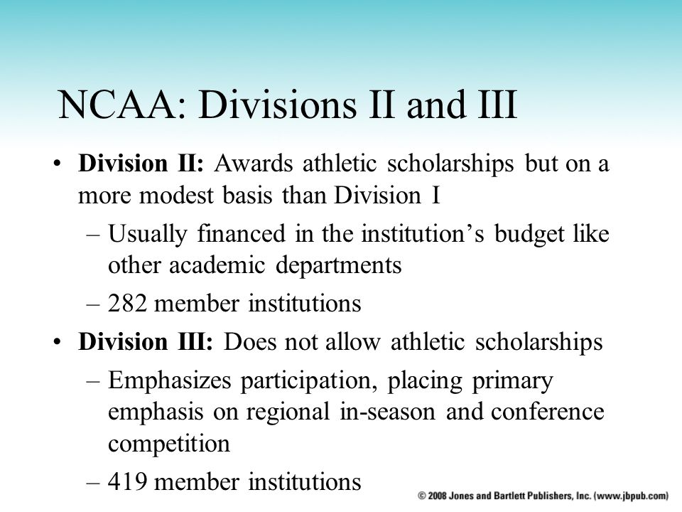 NCAA: Divisions II and III
