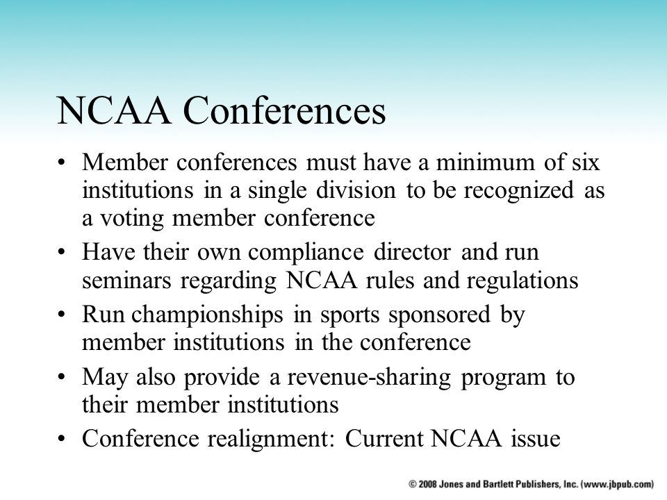 NCAA Conferences Member conferences must have a minimum of six institutions in a single division to be recognized as a voting member conference.