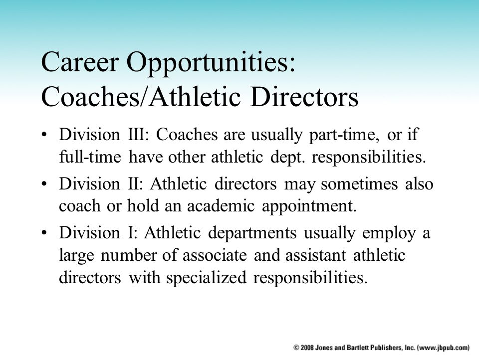 Career Opportunities: Coaches/Athletic Directors