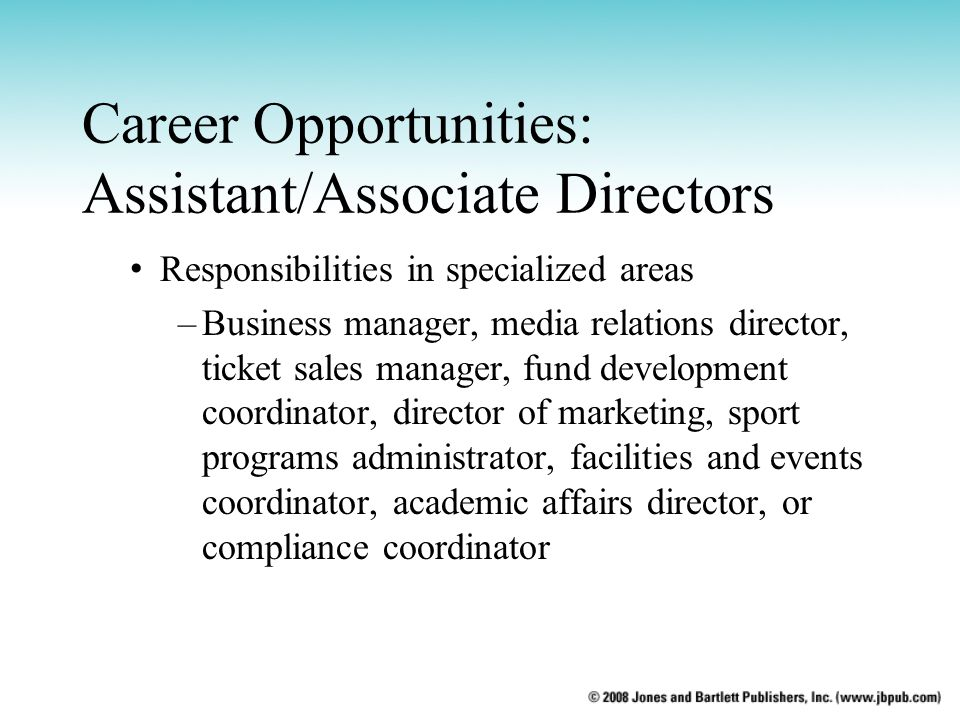 Career Opportunities: Assistant/Associate Directors