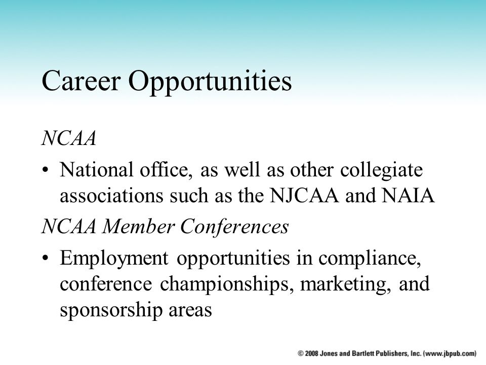 Career Opportunities NCAA