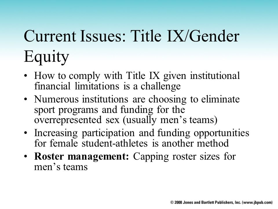 Current Issues: Title IX/Gender Equity