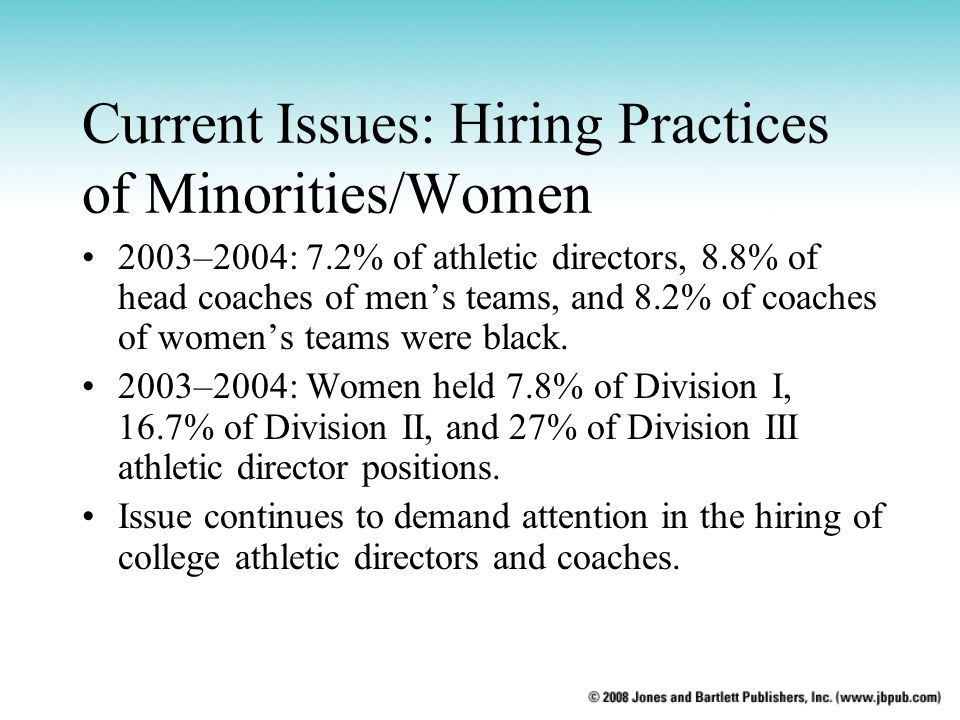 Current Issues: Hiring Practices of Minorities/Women