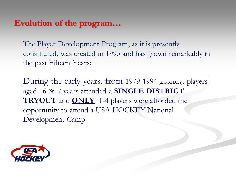 Evolution of the program…