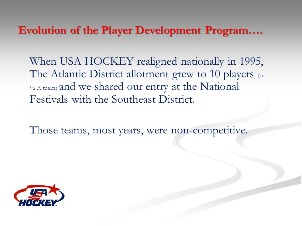 Evolution of the Player Development Program….