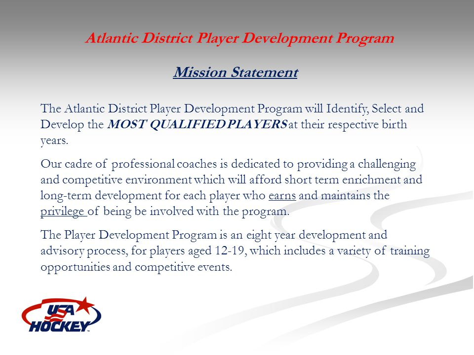 Atlantic District Player Development Program