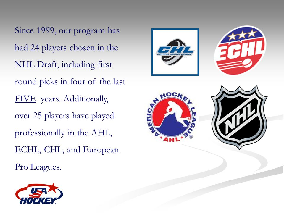 Since 1999, our program has had 24 players chosen in the NHL Draft, including first round picks in four of the last FIVE years.