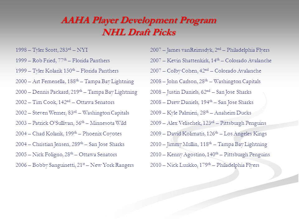 AAHA Player Development Program