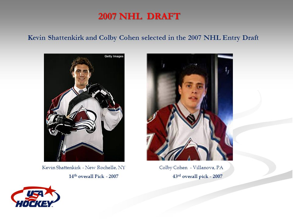 Kevin Shattenkirk and Colby Cohen selected in the 2007 NHL Entry Draft