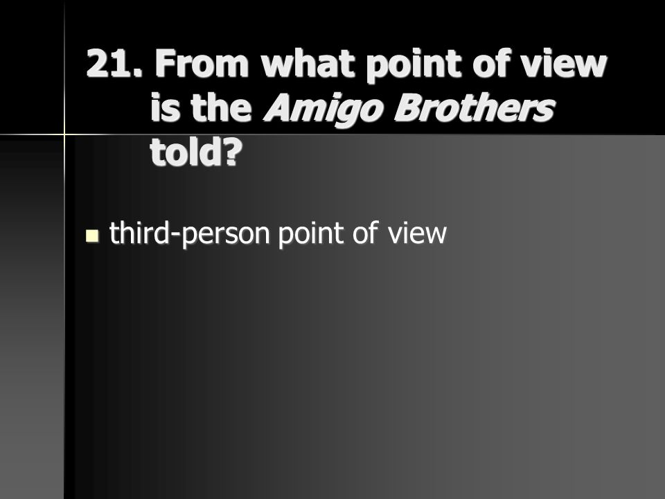 21. From what point of view is the Amigo Brothers told