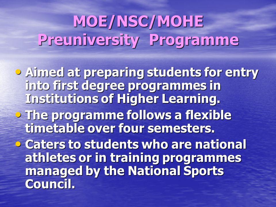 MOE/NSC/MOHE Preuniversity Programme
