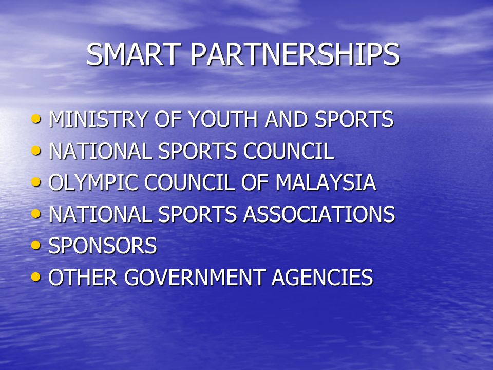 SMART PARTNERSHIPS MINISTRY OF YOUTH AND SPORTS