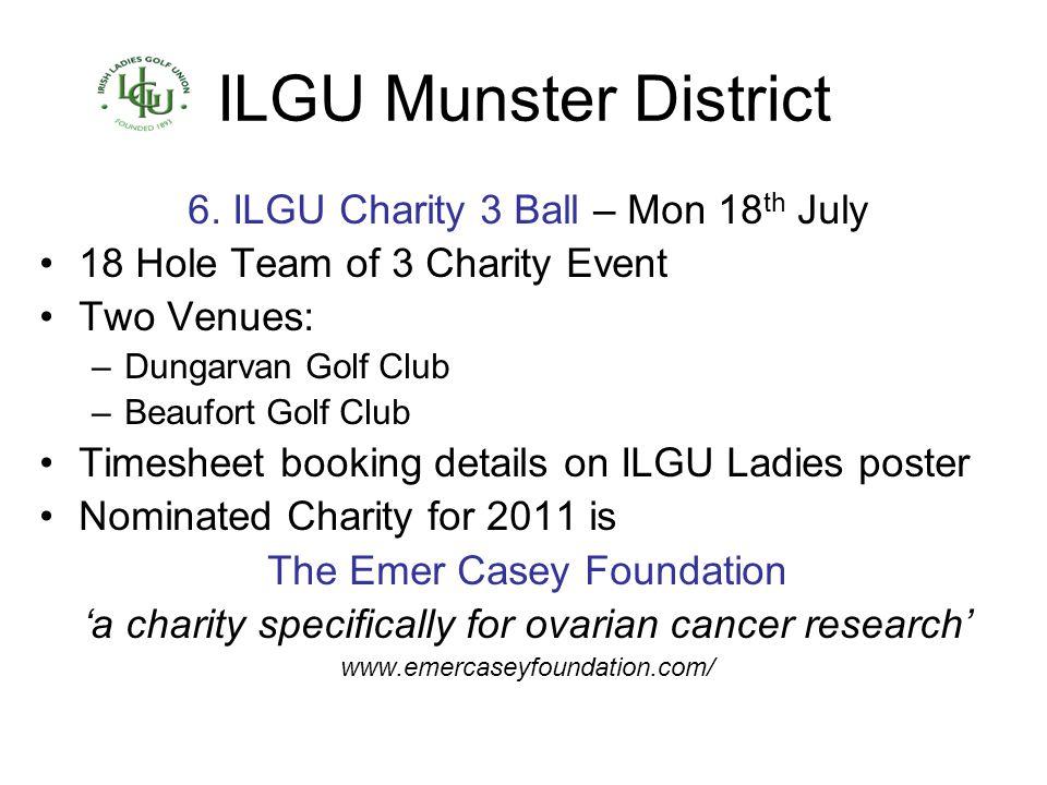 ILGU Munster District 6. ILGU Charity 3 Ball – Mon 18th July