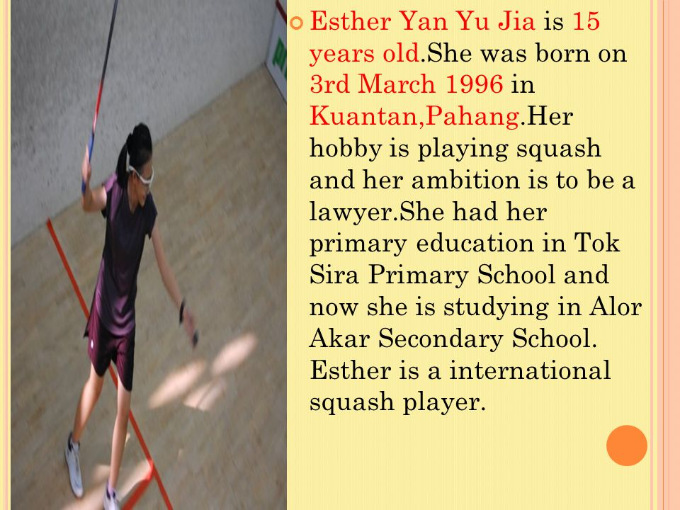 Esther Yan Yu Jia is 15 years old