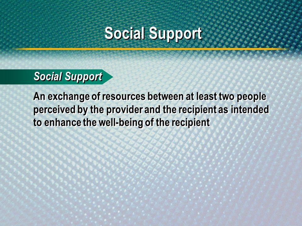 Social Support Social Support