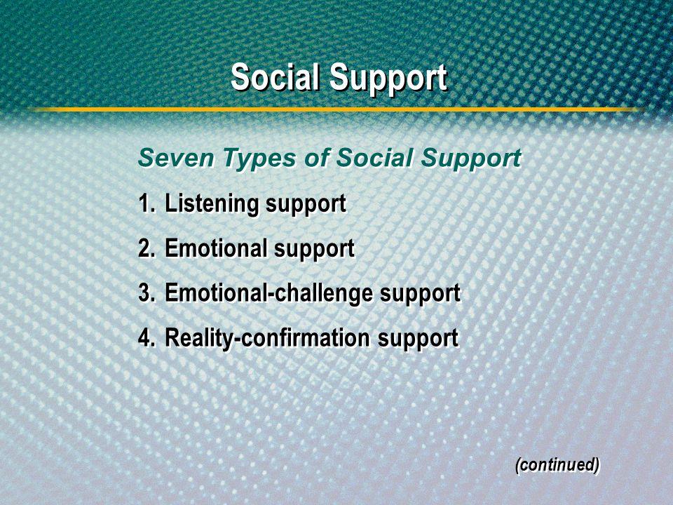 Social Support Seven Types of Social Support 1. Listening support
