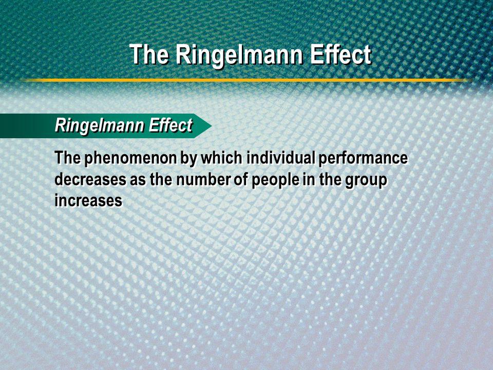 The Ringelmann Effect Ringelmann Effect