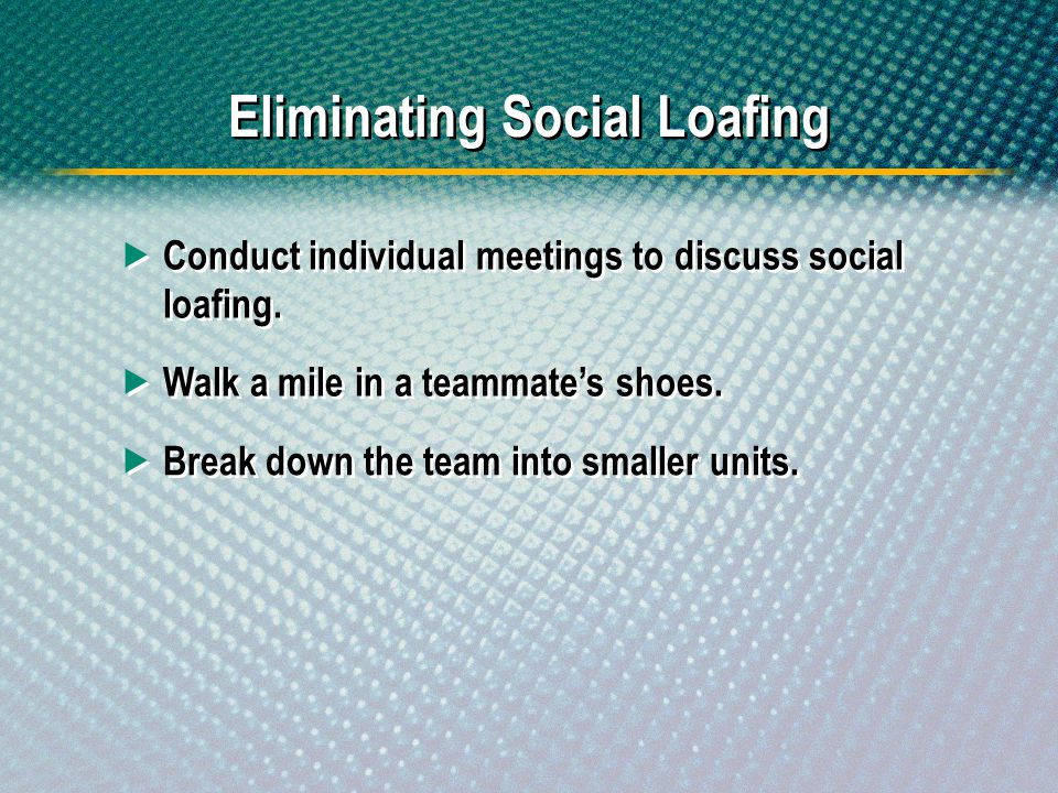 Eliminating Social Loafing