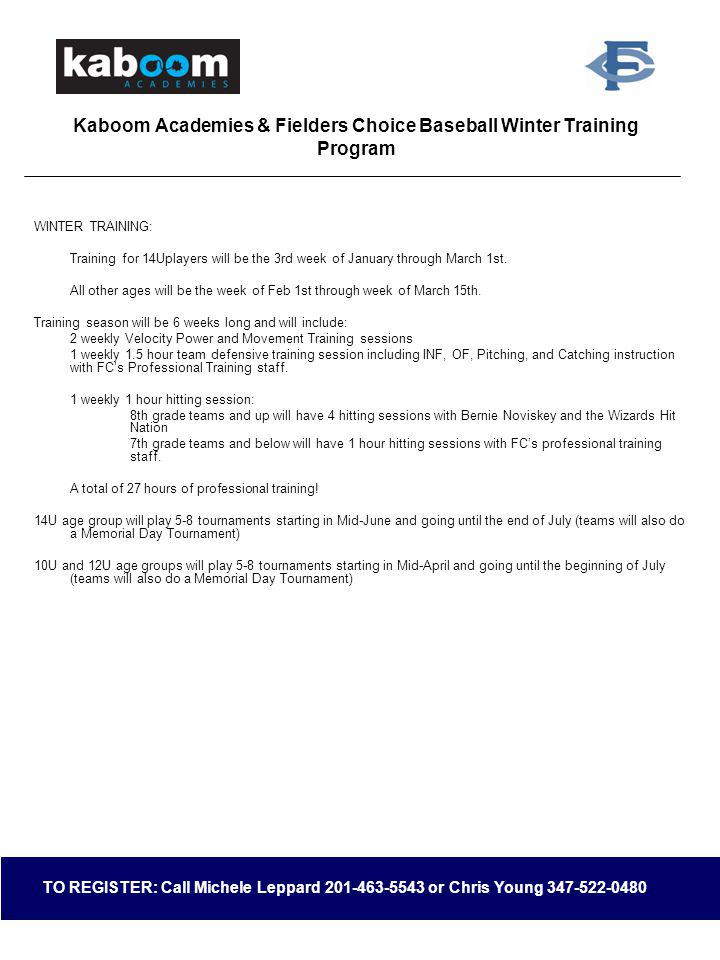 Kaboom Academies & Fielders Choice Baseball Winter Training Program