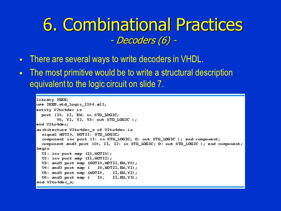 6. Combinational Practices - Decoders (6) -