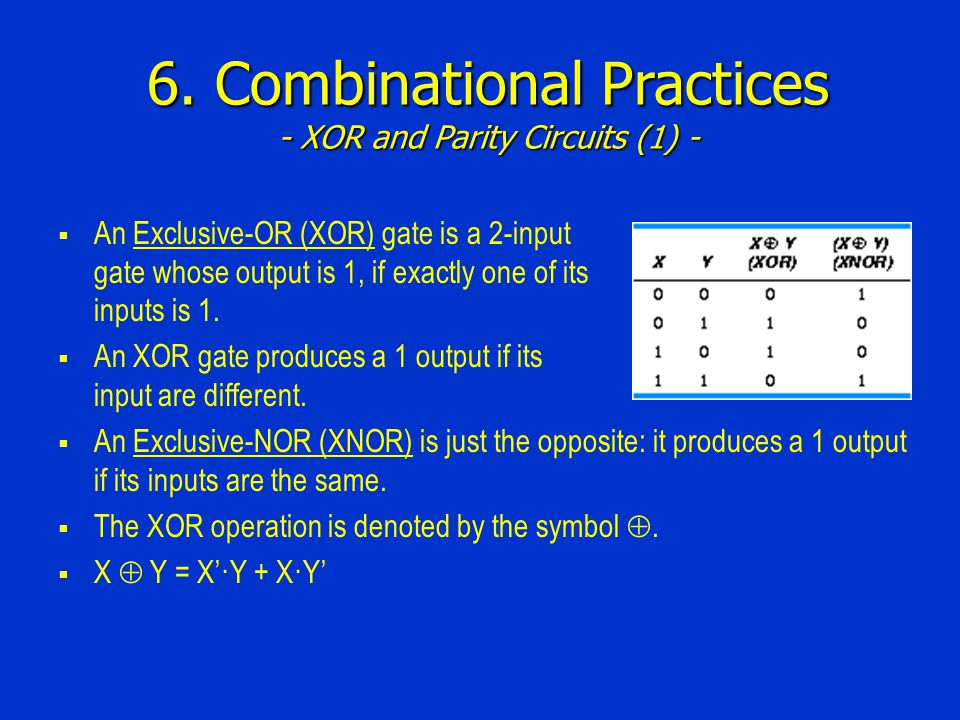 6. Combinational Practices - XOR and Parity Circuits (1) -