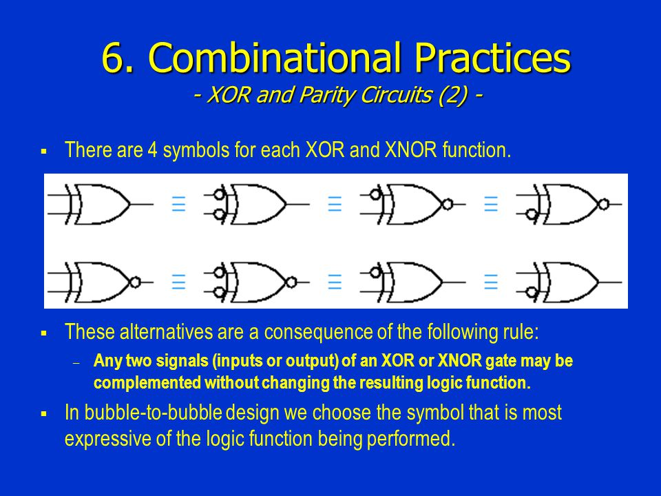 6. Combinational Practices - XOR and Parity Circuits (2) -