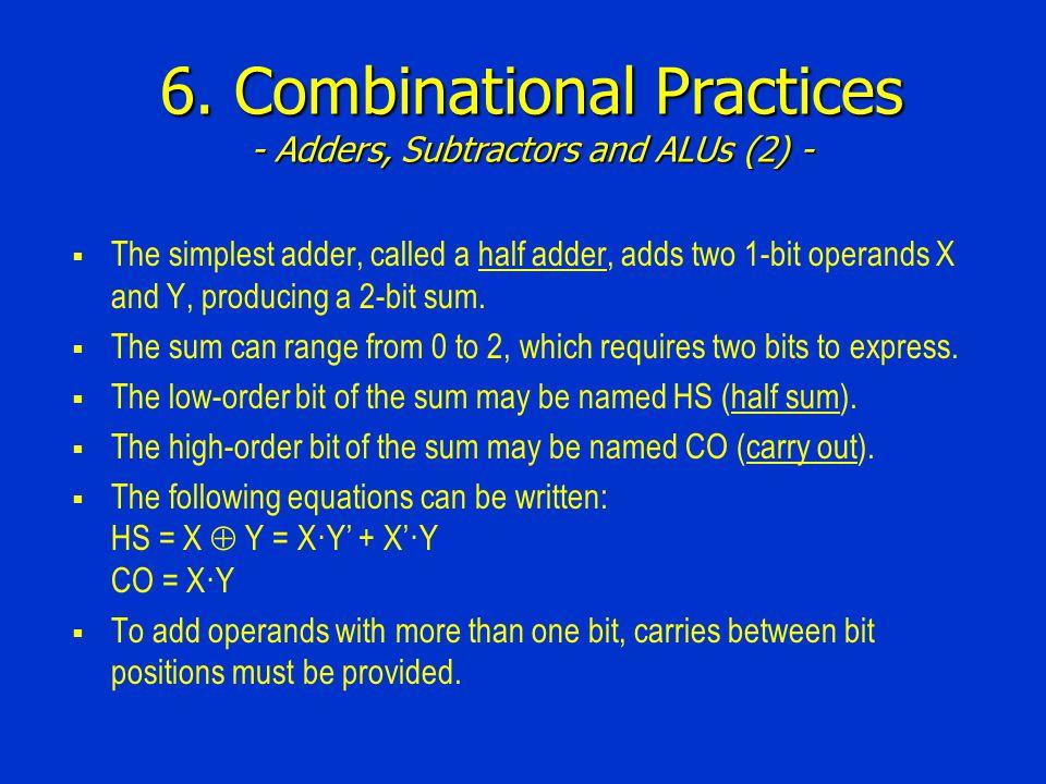 6. Combinational Practices - Adders, Subtractors and ALUs (2) -