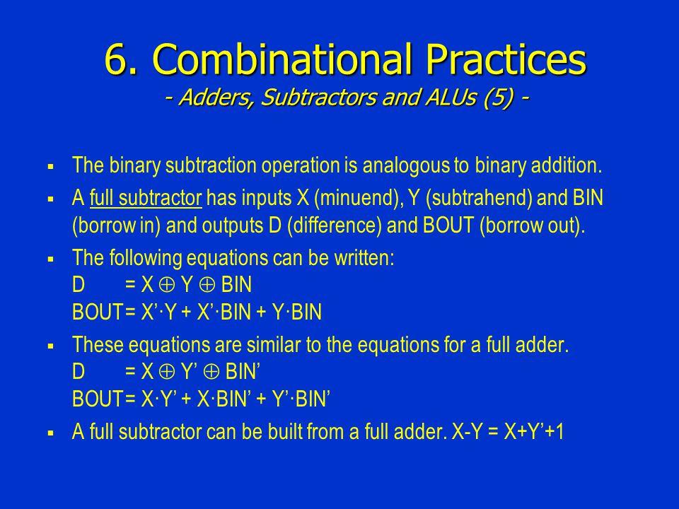 6. Combinational Practices - Adders, Subtractors and ALUs (5) -