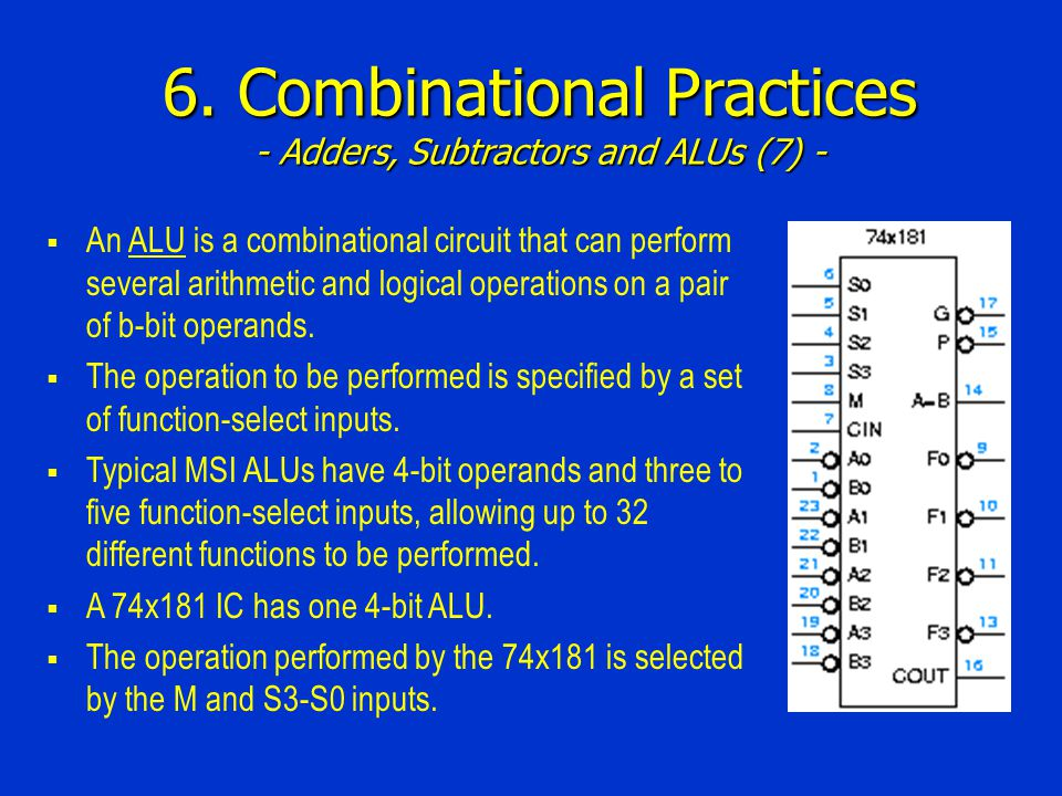 6. Combinational Practices - Adders, Subtractors and ALUs (7) -