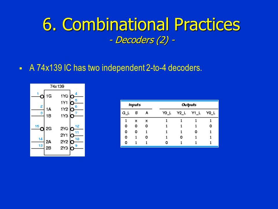 6. Combinational Practices - Decoders (2) -