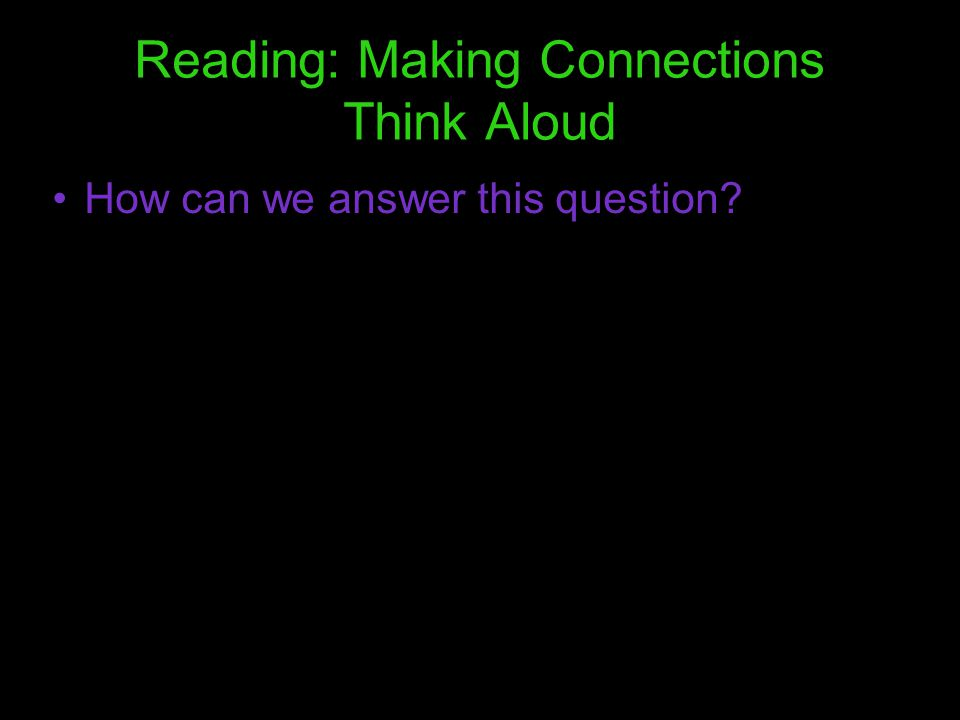 Reading: Making Connections Think Aloud
