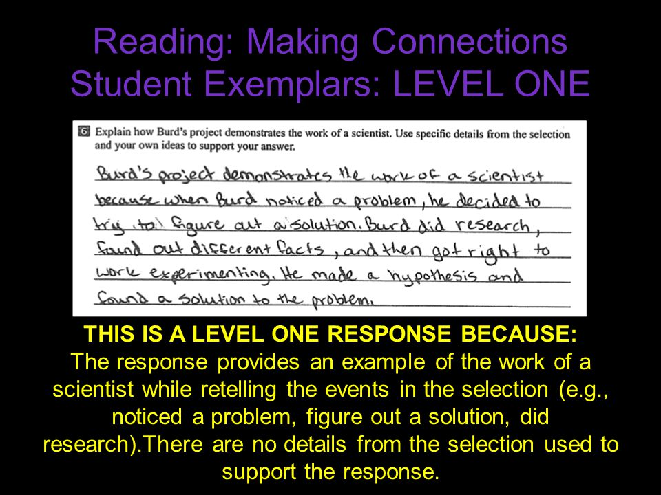 Reading: Making Connections Student Exemplars: LEVEL ONE