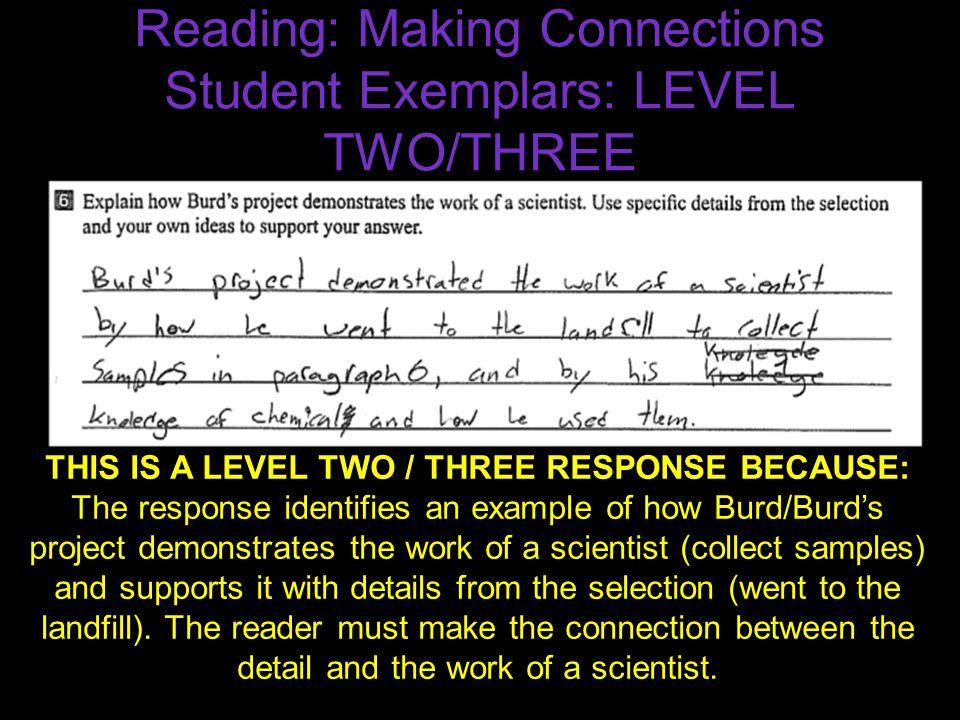 Reading: Making Connections Student Exemplars: LEVEL TWO/THREE